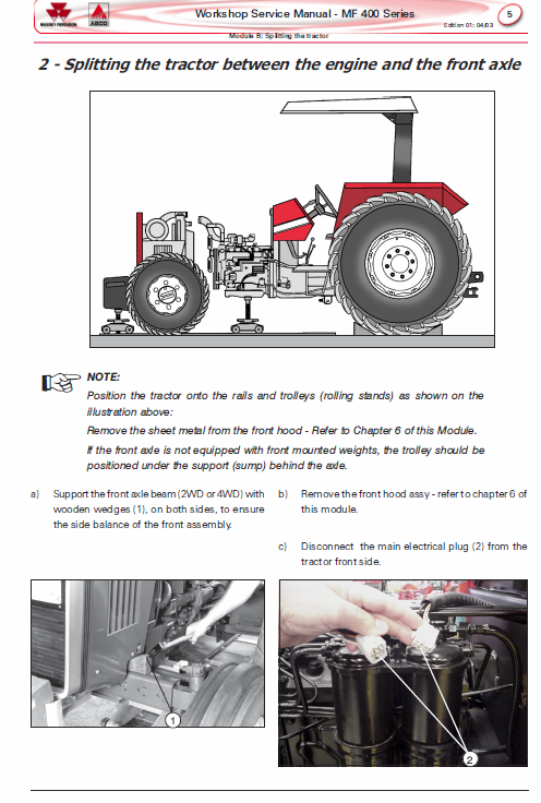 Massey Ferguson Mf 445, 460, 465, 475 Tractor Service Manual