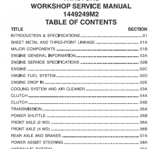 Massey Ferguson 1125, 1140, 1145, 1240, 1250, 1260 Tractors Workshop Manual