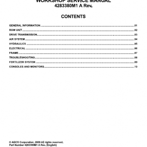Massey Ferguson 8816, 8824 Planter Service Manual