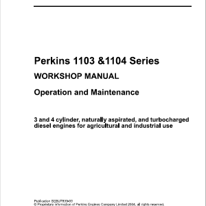 Perkins Engines 1103, 1104 Series Workshop Repair Service Manual