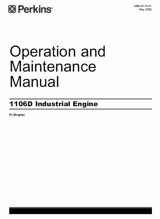 Perkins Engines 1106d Series Workshop Repair Service Manual