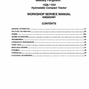 Massey Ferguson 1528, 1531 Tractors Service Workshop Manual