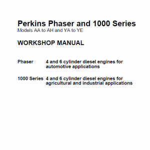 Perkins Engines Phaser And 1000 Series Workshop Repair Service Manual