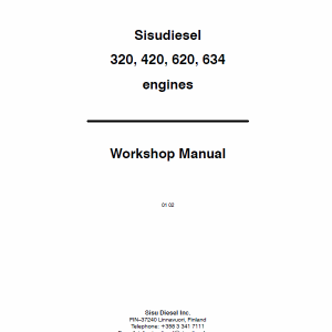 Agco Sisu 320, 420, 620, 634 Engines Workshop Repair Service Manual