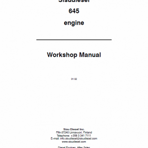 AGCO Sisu 645 Engines Workshop Repair Service Manual