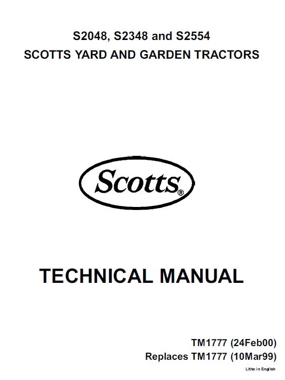 John Deere S2048, S2348, S2554 Scotts Tractor Manual Tm-1777