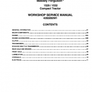 Massey Ferguson 15298, 1532 Tractors Service Workshop Manual