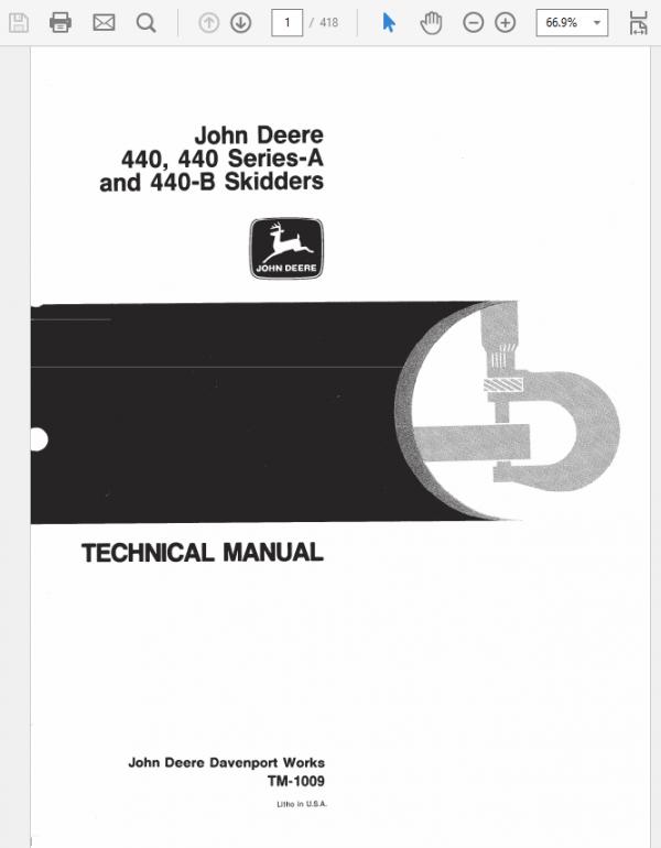 John Deere 440, 440A, 440B Skidder Service Manual TM-1009