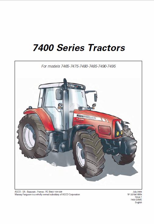 Massey Ferguson 7485, 7490, 7495, 7497, 7499 Tractor Service Manual