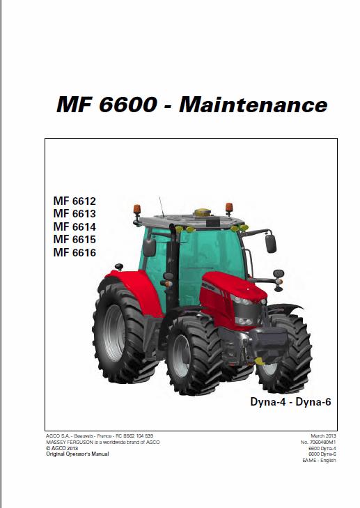 Massey Ferguson 6612, 6613, 6614, 6615 Tractor Service Manual