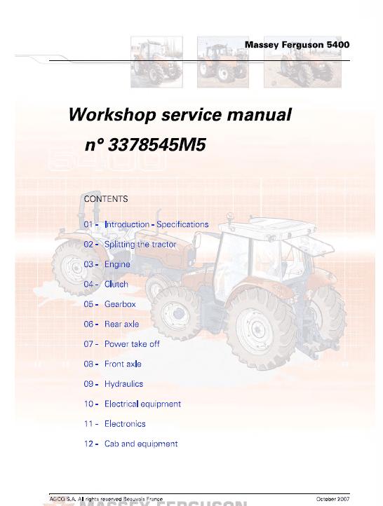 Massey Ferguson 5425, 5435, 5445, 5460, 5465, 5470, 5475, 5480 Tractors Workshop Manual