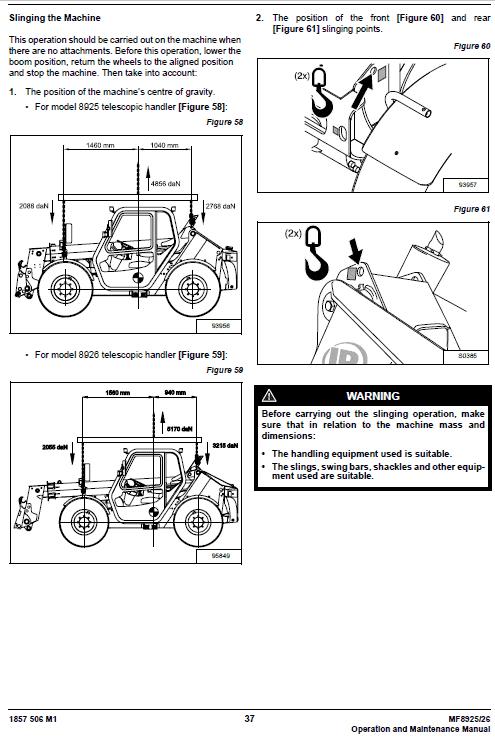 Massey Ferguson Mf 8925, 8926 Telescopic Handlers Service Manual