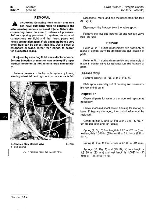 John Deere 640 Skidder Service Manual Tm-1124