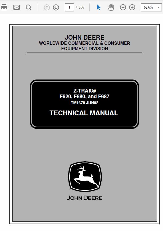 John Deere F620, F680, F687 ZTrak Technical Service Manual