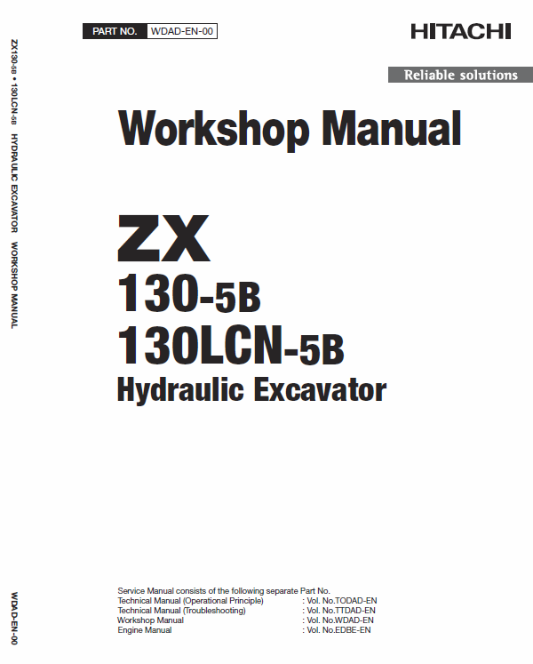 Hitachi Zx130-5b And Zx130lcn-5b Excavator Service Manual