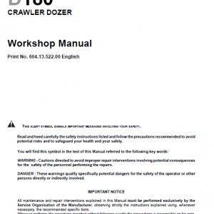 New Holland D180 Bulldozer Dozer Service Manual