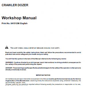 New Holland D180 Tier 3 Bulldozer Dozer Service Manual
