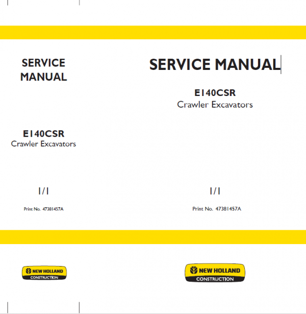 New Holland E140csr Excavator Service Manual