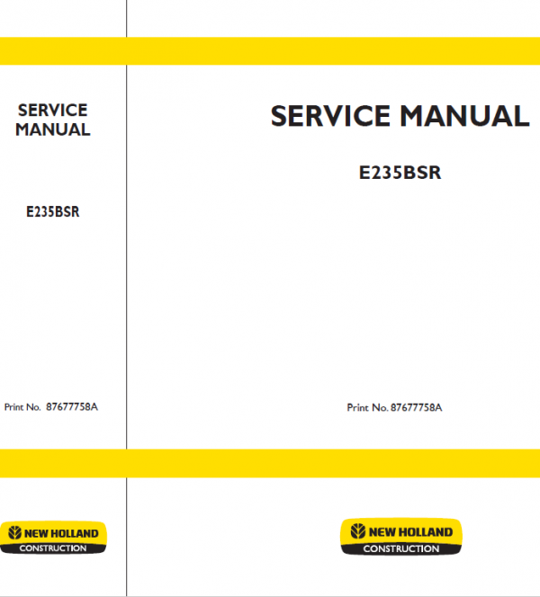 New Holland E235bsr Excavator Service Manual