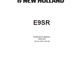 New Holland E9SR Mini Excavator Service Manual