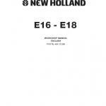 New Holland E16 And E18 Mini Excavator Service Manual