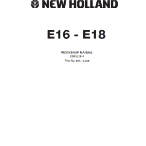 New Holland E16 and E18 Mini Excavator Service Manual