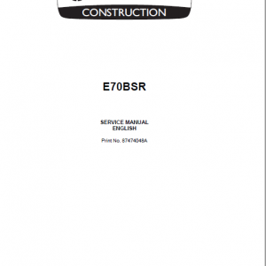New Holland E70BSR Midi Excavator Service Manual