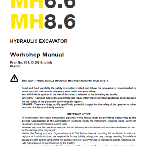 New Holland Mh6.6 And Mh8.6 Excavator Manual