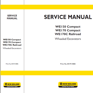 New Holland W150 and WE170 Wheeled Excavators Manual