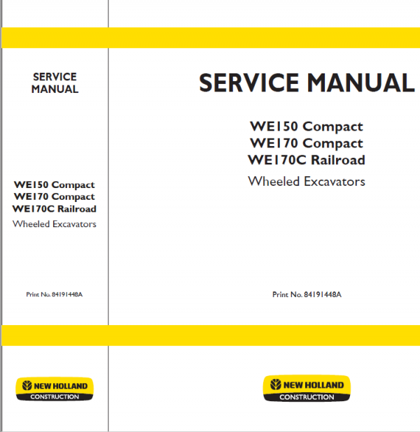 New Holland We150 And We170 Wheeled Excavators Manual