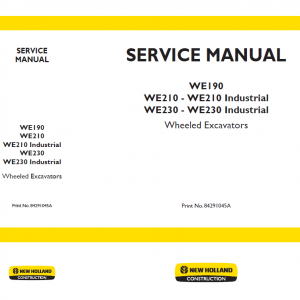New Holland WE190, WE210 and WE230 Wheeled Excavators Manual