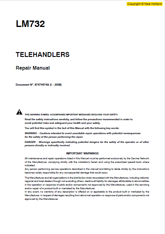 New Holland Lm732 Telehandlers Service Manual