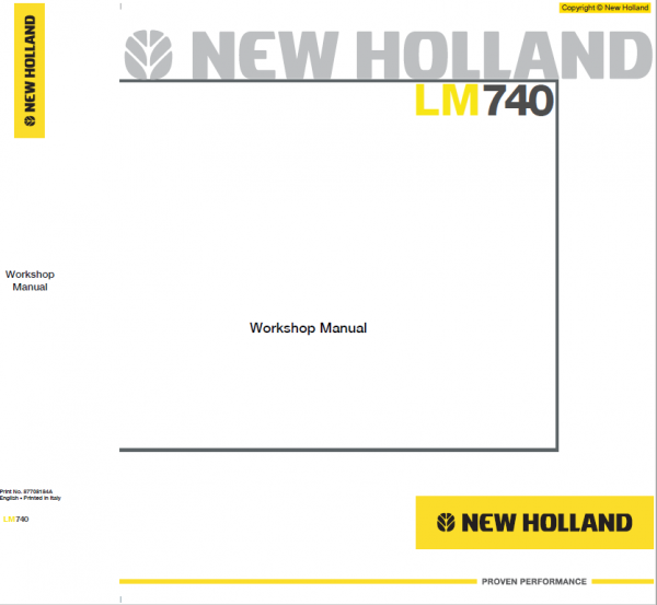 New Holland Lm1440, Lm740 Telehandlers Service Manual