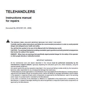 New Holland Lm1060 Telehandlers Service Manual