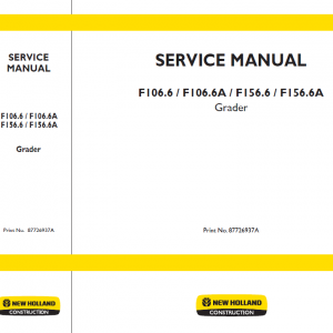New Holland F106.6 Tier 3 And F156.6 Tier 3 Service Manual