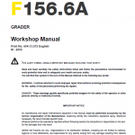 New Holland F156.6 And F156.6a Grader Service Manual