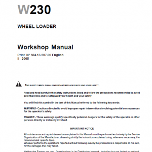 New Holland W230 Wheeled Loader Service Manual