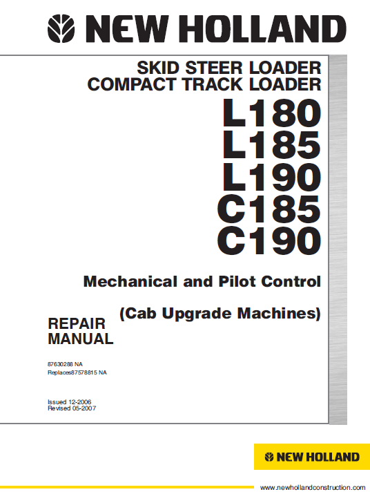 New Holland L180, L185 And L190 Skidsteer Service Manual