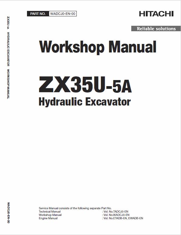 Hitachi Zx35u-5a And Zx35u-5b  Excavator Service Manual