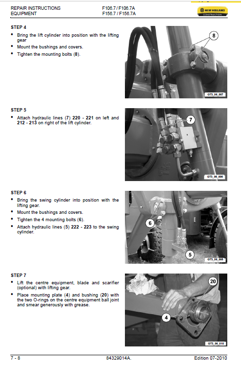 New Holland F106.7 And F156.7 Grader Manual