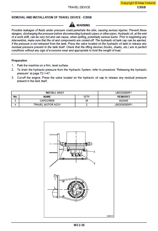 New Holland E265b And E305b Excavator Service Manual