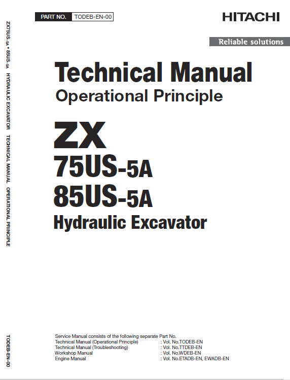 Hitachi Zx75us-5a And Zx85us-5a Excavator Service Manual
