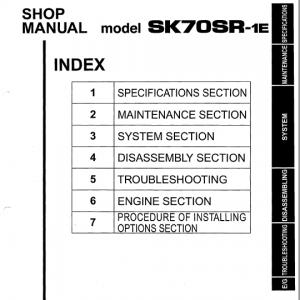 Kobelco SK70SR-1E Excavator Service Manual