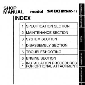 Kobelco Sk80msr-1e And Sk80msr-1es Excavator Service Manual