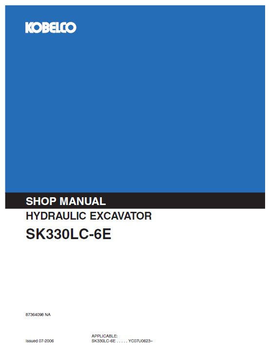 Kobelco Sk330lc-6e And Sk330nlc-6e Excavator Service Manual