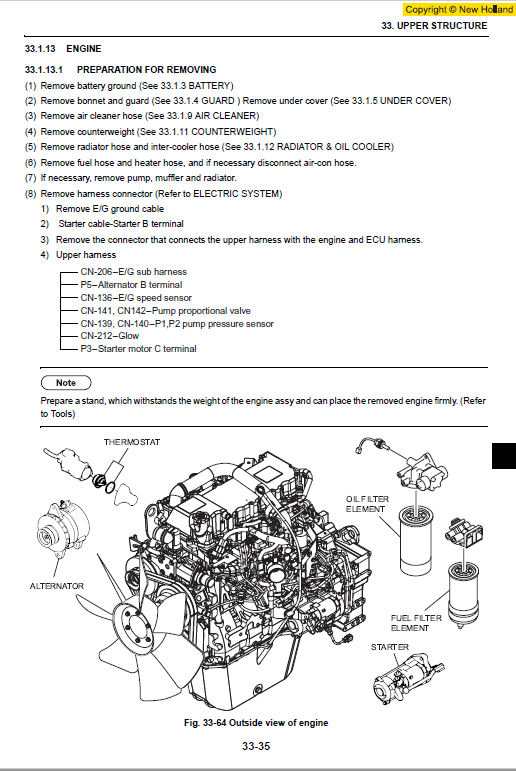 New Holland E215b Excavator Service Manual