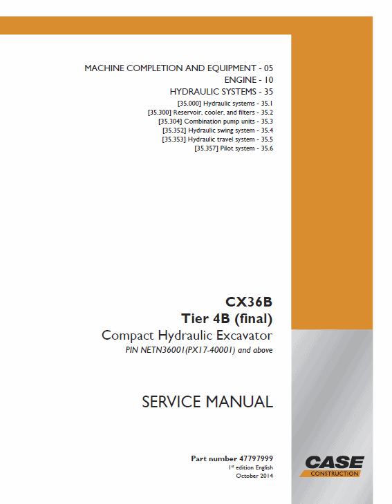 Case CX36B Excavator Service Manual