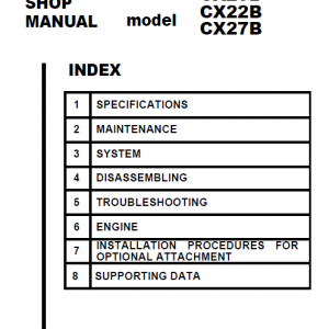 Case Cx20b, Cx22b And Cx27b Excavator Service Manual
