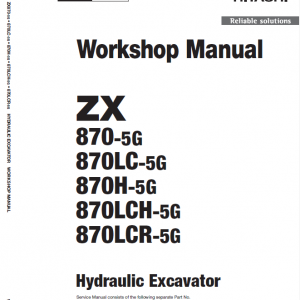 Hitachi Zx870-5g Excavator Service Manual