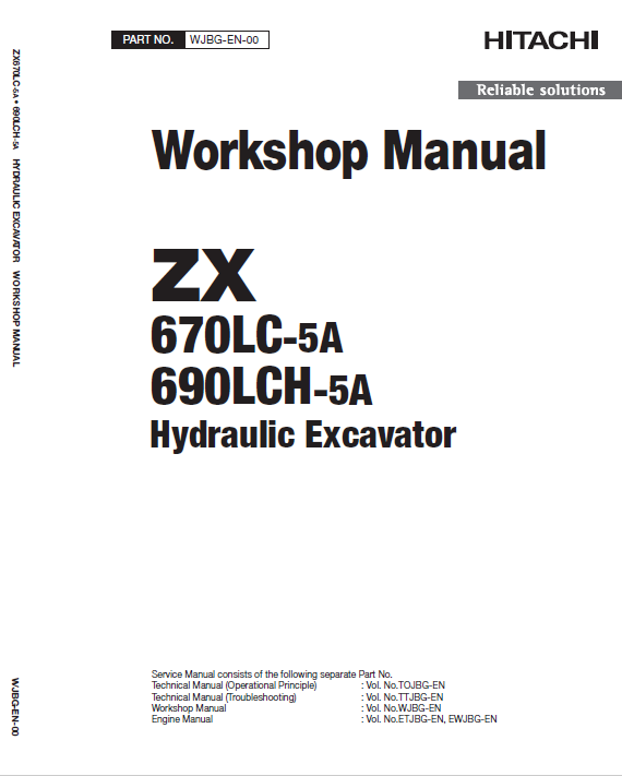 Hitachi Zx670lc-5a And Zx690lch-5a Excavator Manual
